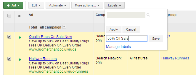 sale labels on google adwords