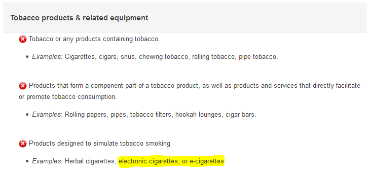 adwords ecigs policy