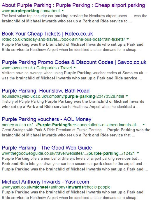 purple parking duplicate content