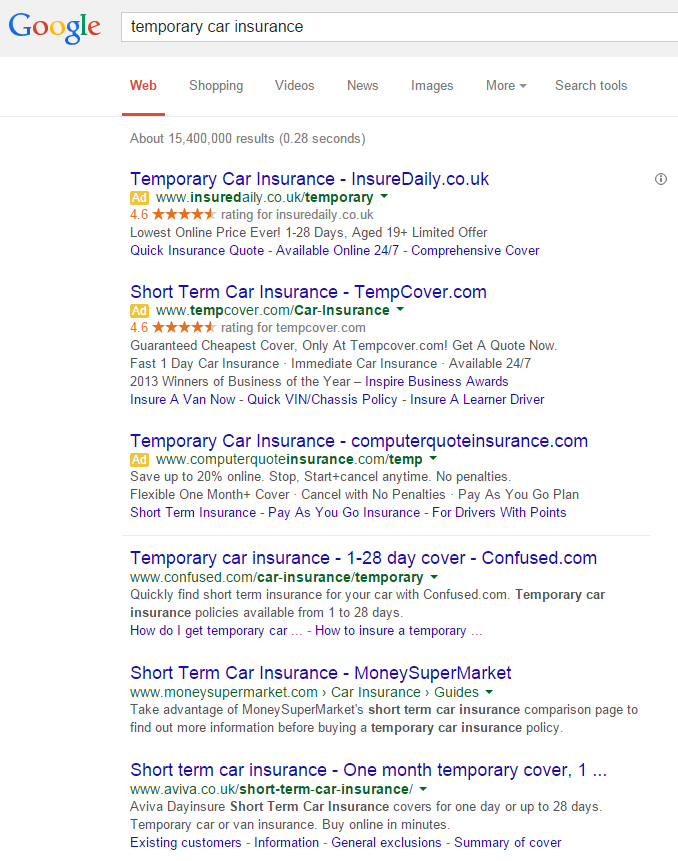 temp car insurance organic results