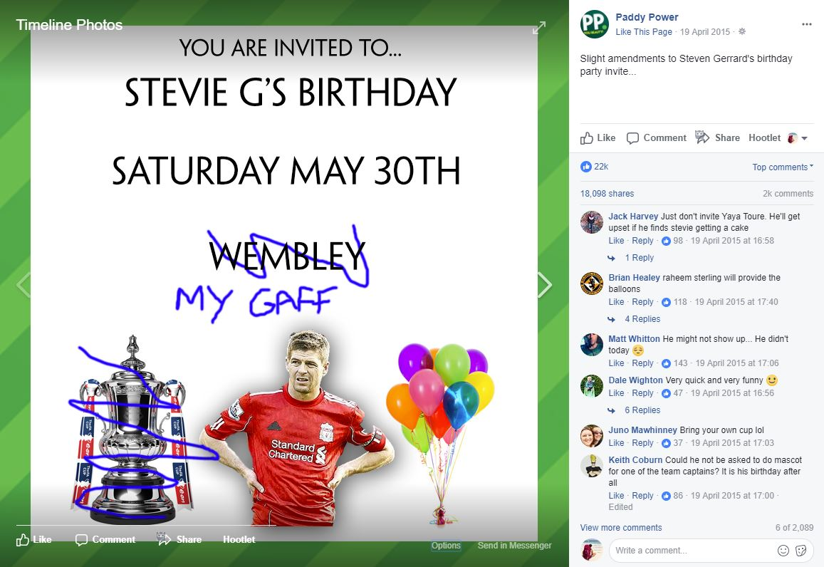 Paddy Powers Facebook post about Steven Gerrard leaving Liverpool FC