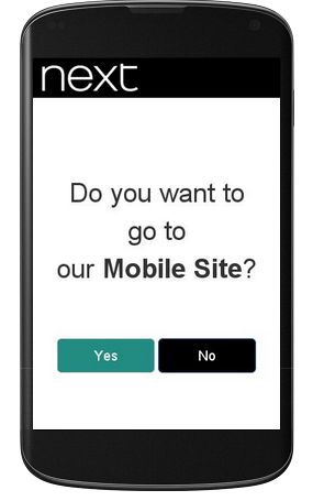 image of next.co.uks mobile site on an iphone