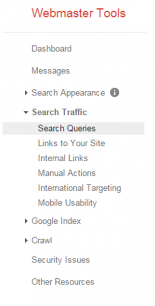 webmaster tools screenshot for search queries