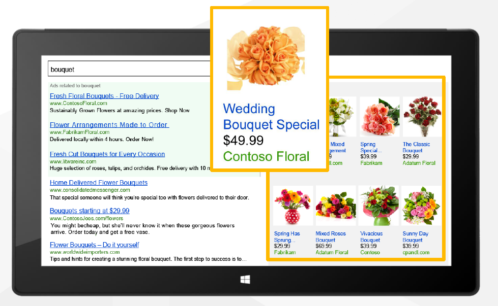 An example of how product ads will look on Bing
