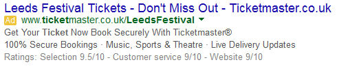 PPC ad leeds festival tickets limited number available