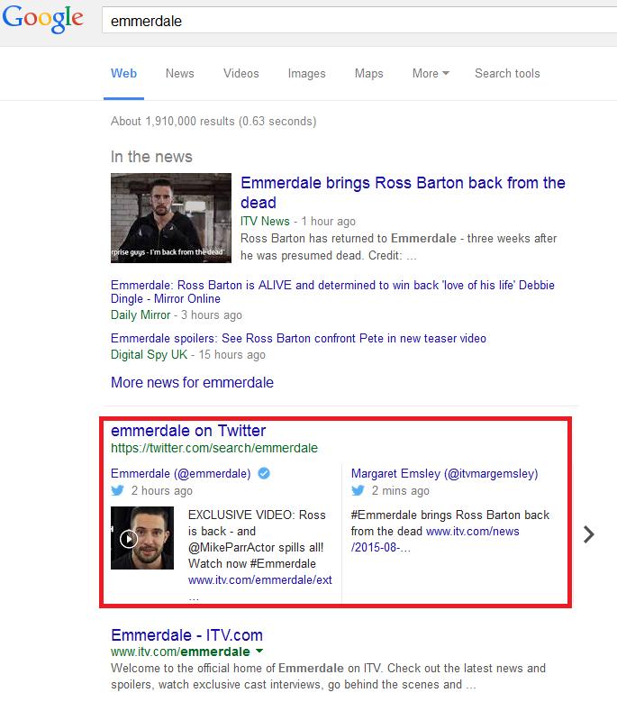 Emmerdale google search