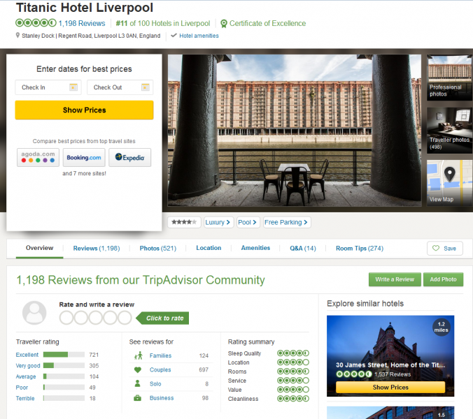 tripadvisor review page for titanic liverpool