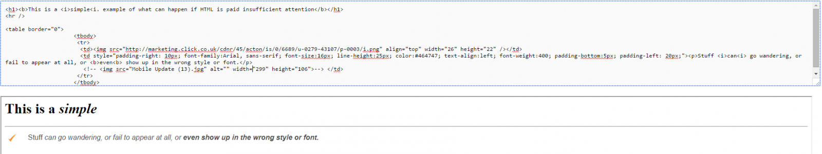 Simple HTML snippet