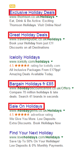 Example of holiday text ads