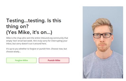 inbound.org email - testing, testing, punish Mike