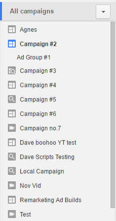 AdWords sidebar (campaign select)