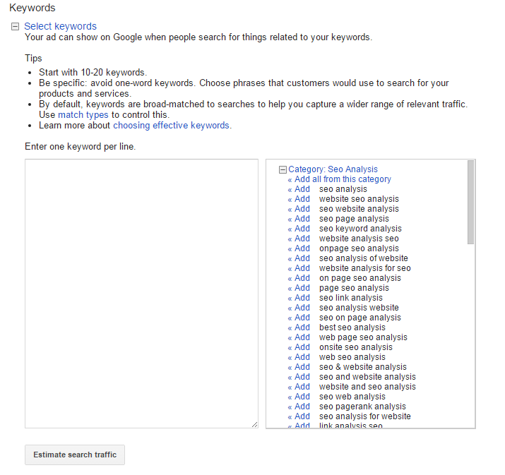 AdWords Keyword section