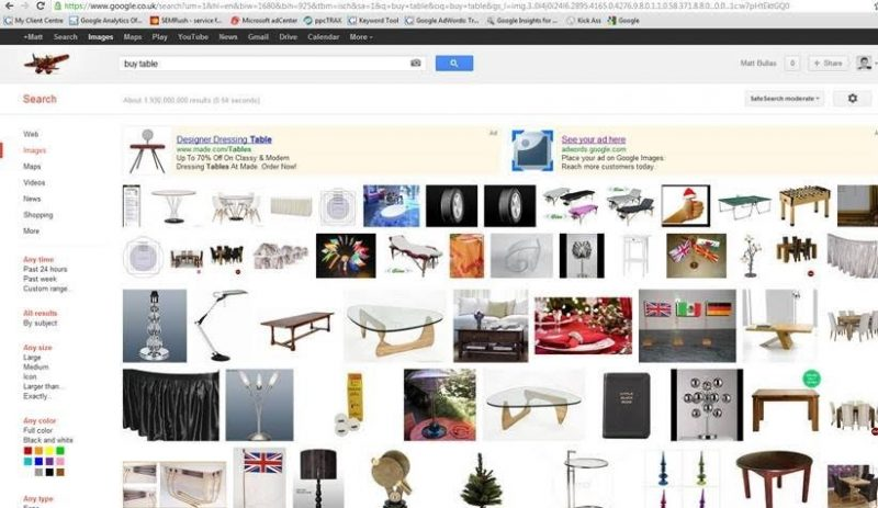 search ads in Google images beta
