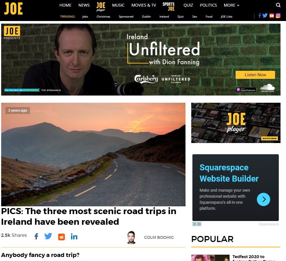 Joe.ie Chill Insurance Campaign Placement