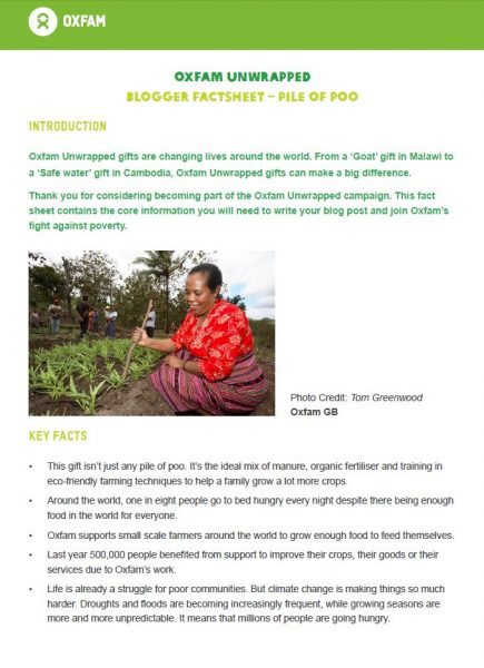 oxfam blogger factsheet