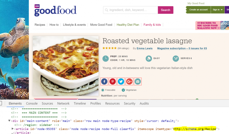 recipe with schema markup