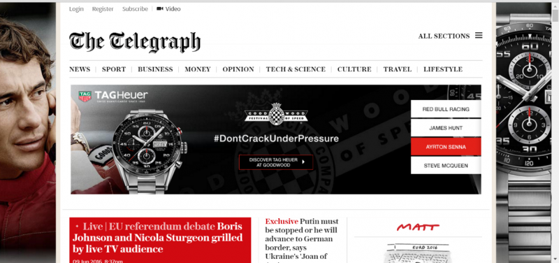 telegraph with banner ad