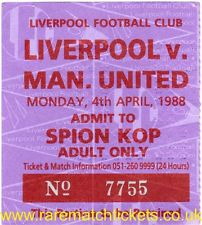1987-88 Season ticket for The Kop at Liverpool FC
