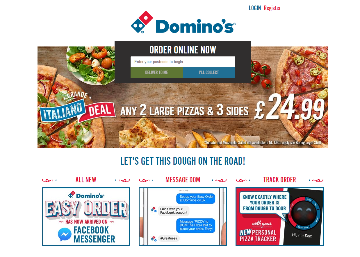 dominos pizza organic landing page