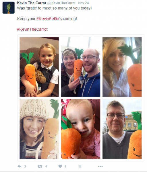 kevin the carrot selfies