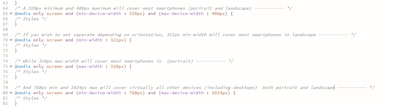 @media codes for multiple devices