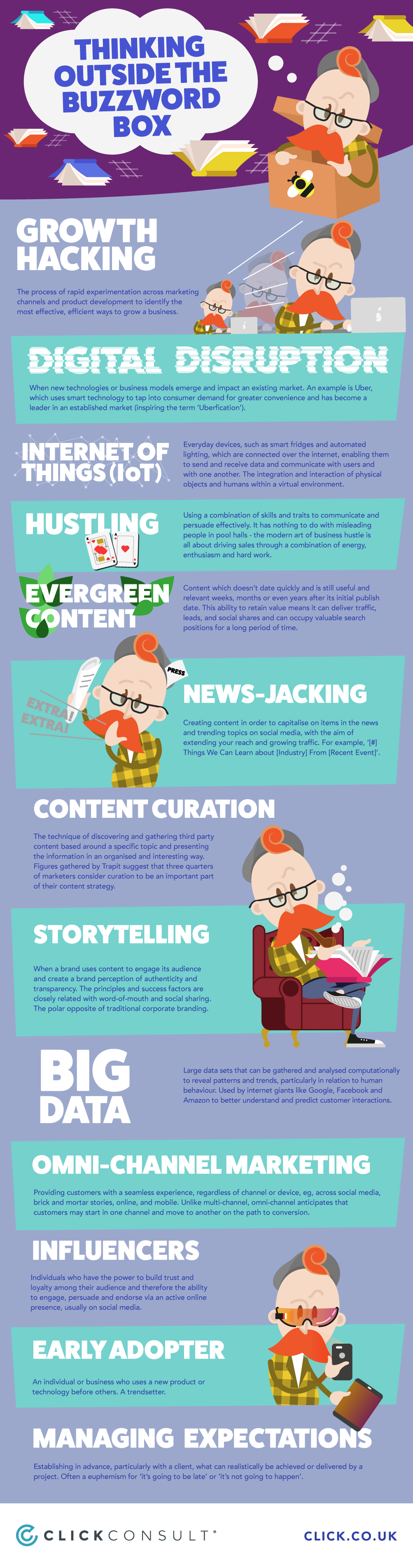 thinking outside the marketing buzzword box infographic