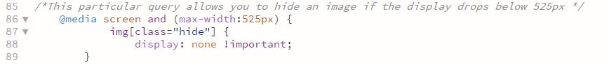code snip hide image