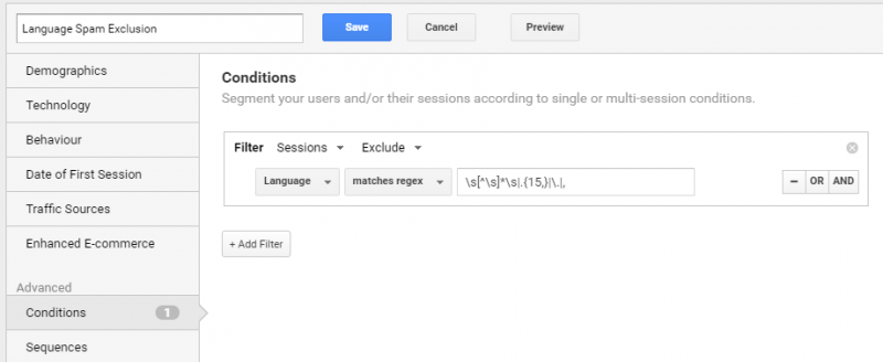 google analytics screenshot - conditions