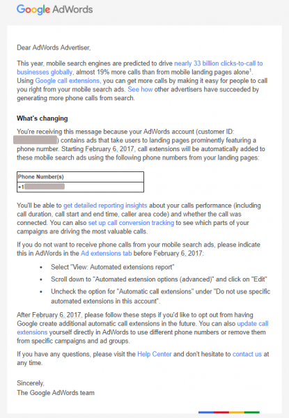 adwords automated call extensions