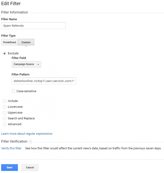 google analytics screenshot of spam filter 1