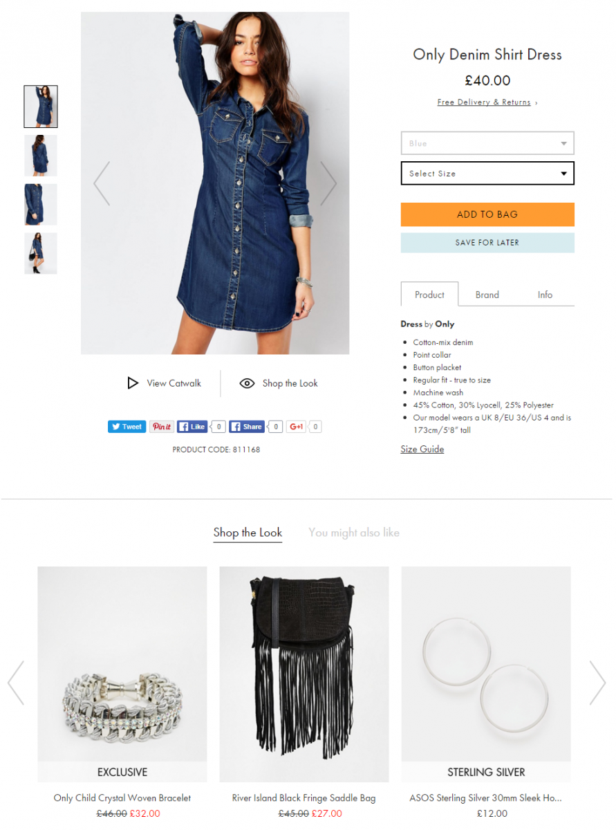 Asos results filter image with complementary products