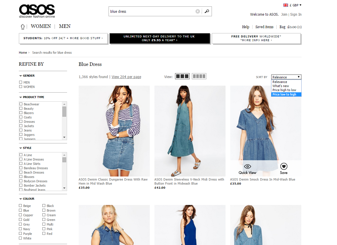 Asos results filter image
