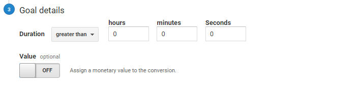 google analytics goal set up templates duration goal variables