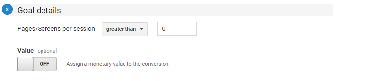 google analytics goal set up templates page session goal variables