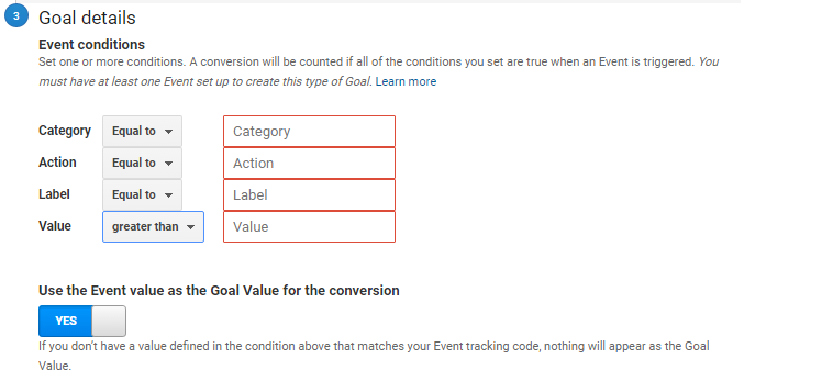 google analytics goal set up templates event goal variables