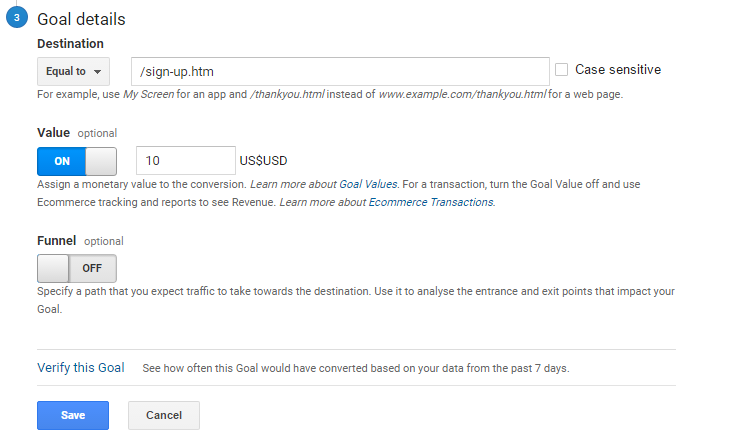 google analytics goal set up templates destination