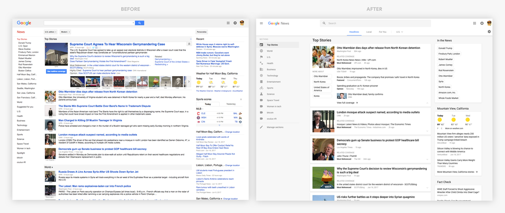 google news before and after