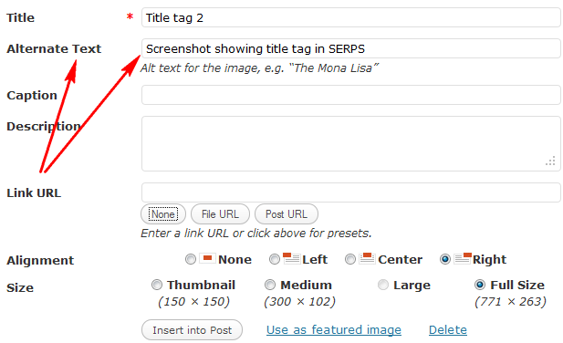 Example of image showing where to add alt tags