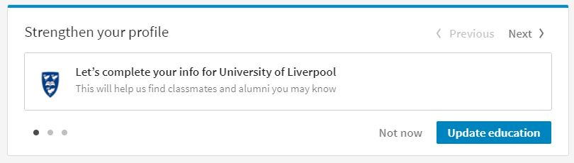 linkedin strengthen your profile liv uni