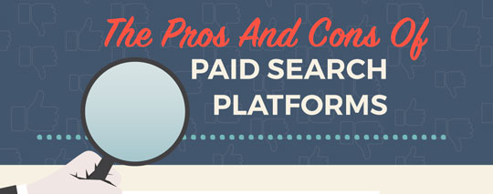 pros and cons of paid search platforms infographic header