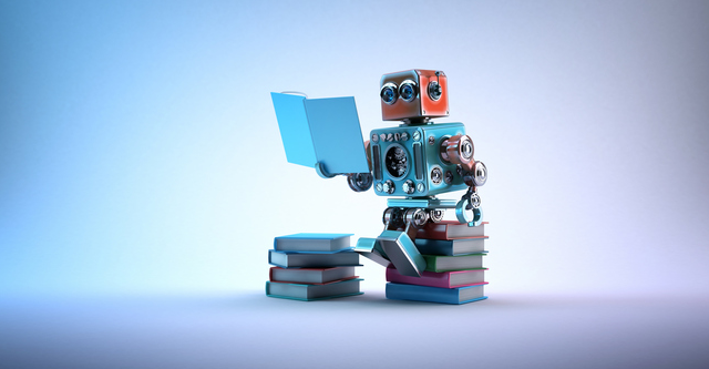 Robot sitting on a bunch of books.