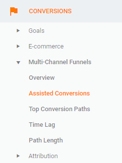 assisted conversions report location in menu