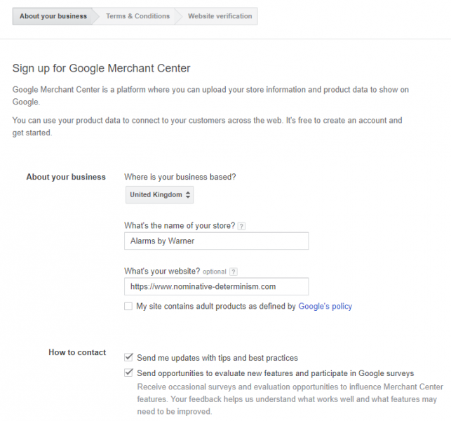 google merchant center sign up