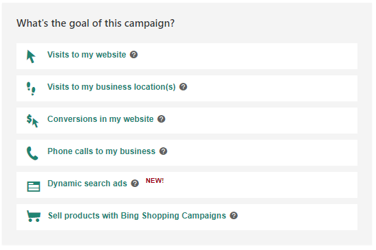 bing ads select campaign goals