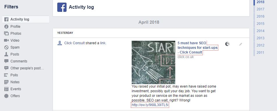 filtering activity log on facebook