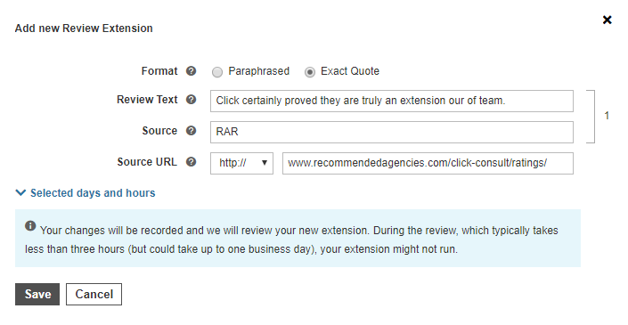 review extensions bing ads