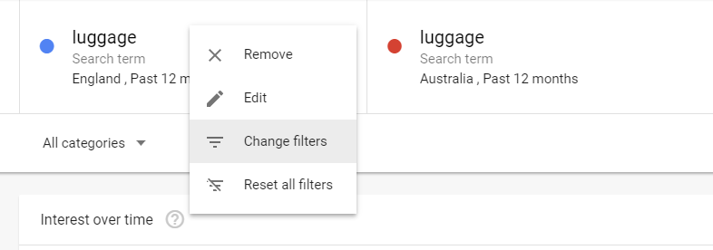 google trends regional comparison dropdown