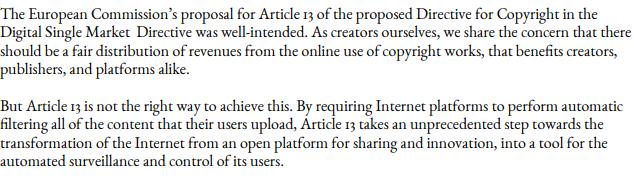 Copyright Reform Directive letter