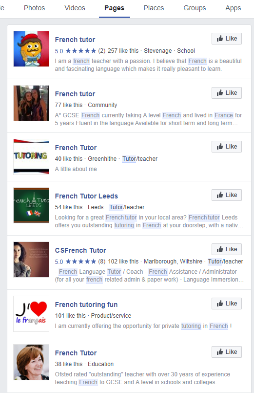 Facebook french tutor search