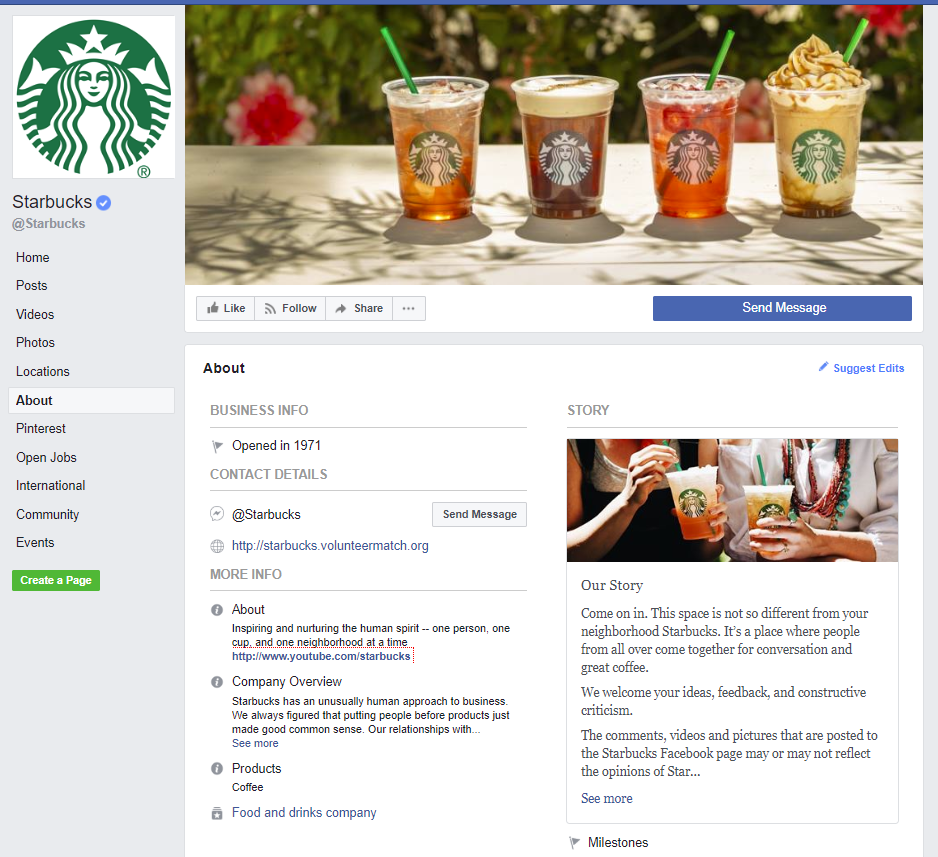 starbucks facebook profile